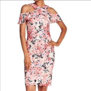 Rachel Roy Cold Shoulder Floral Midi Dress